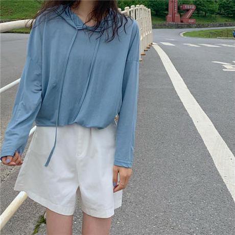 夏 新しいデザイン 韓国風 帽子付き 薄いスタイル 長袖Tシャツ 女子学生 何でも似合う