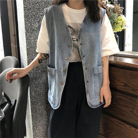 夏 新しいデザイン 韓国風 アンティーク調 何でも似合う デニムジャケット 学生 ルース