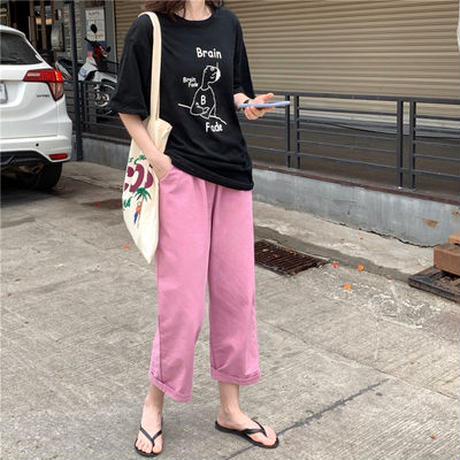 夏 新しいデザイン セット ファッション ルース 半袖Tシャツ 女 ハイウエスト 九分