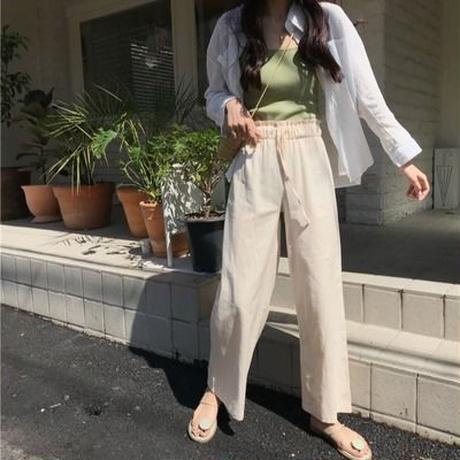 パンツ 女 新しいデザイン バド パンツ 伸縮性 ハイウエスト ストレート ワイドパンツ