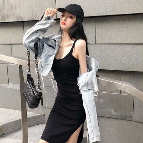 新しいデザイン 初春 ファッション セット デニムジャケット ドレス スプリット ワンピ