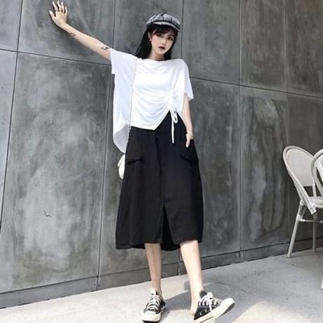 セット 光 調理済み 風 スカート 夏 韓国風 ウエストスプリット スカート 引きひも