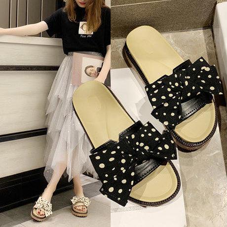 夏 サンダル 靴 カジュアルシューズ スリッパ 女 韓国風 マチ 道 リボン ささいなこ