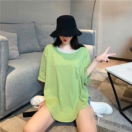 女 夏服 新しいデザイン 韓国風 ルース 着やせ ヒットカラー 丸襟 半袖 フルーツグリ