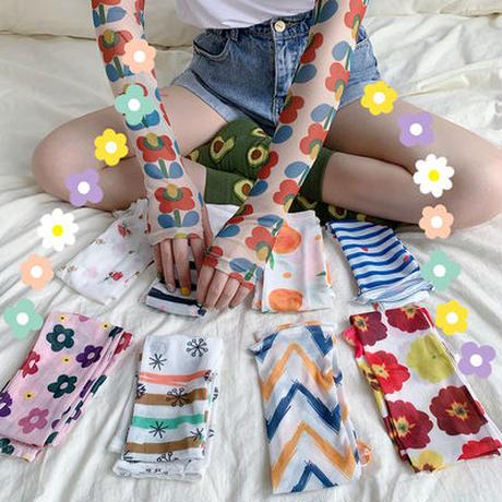 泫 雅 風 ネット レッド 少女 かわいい 日焼け止め 手袋 アイスシルク 袖 セット