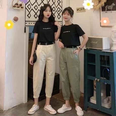 第1 番 ピープル ホーム 女性服 新しいデザイン 文字Tシャツ 束 脚 ハーレムパンツ