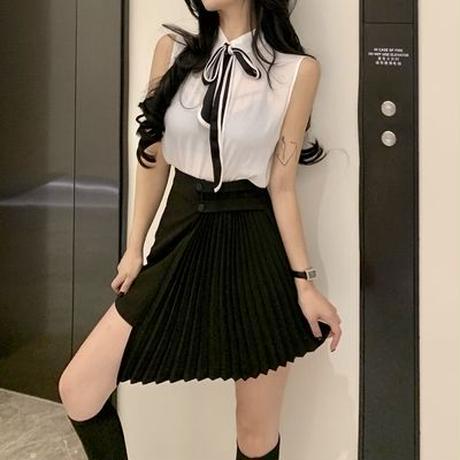 第1 番 ピープル ホーム 女性服 シンプル 気質 ノースリーブ シャツ + プリーツ