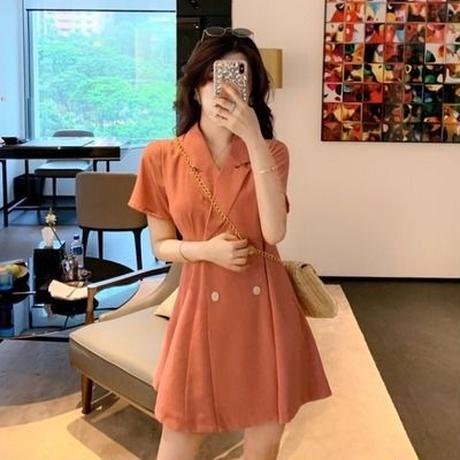 ワンピース 女 夏 新しいデザイン アンティーク調 気質 スーツの襟 ダブルブレスト ウ