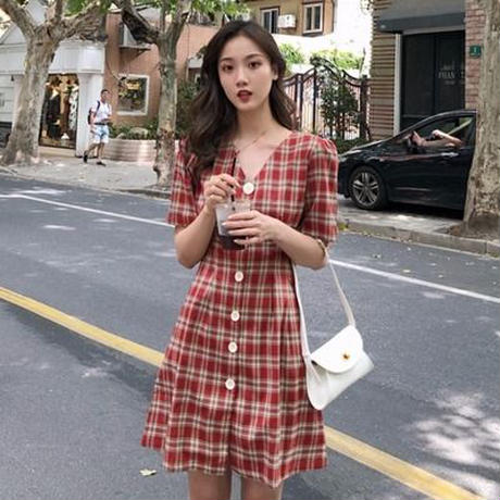 夏 新しいデザイン 赤のチェック柄 ワンピース 襟 ウエストマーク 知恵 熏 スカート