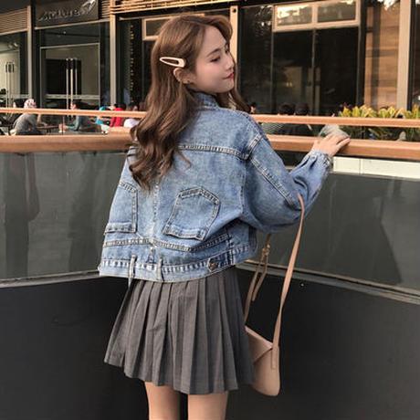 春 女性服 韓国風 アンティーク調 アンティーク加工 デニムジャケット 短いスタイル 何