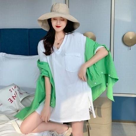 第1 番 ピープル ホーム 女性服 夏 新しいデザイン 襟 スプリット 半袖Tシャツ ル