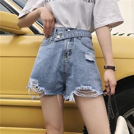 パンツ 春夏 新しいデザイン 韓国風 ルース ワイドパンツ バリ 穴あき ショートパンツ