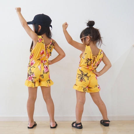 (即納)girl's flower sun suits