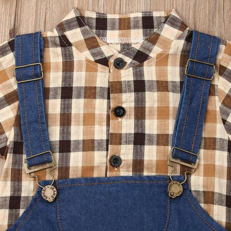 (即納)半袖サロペット×シャツ