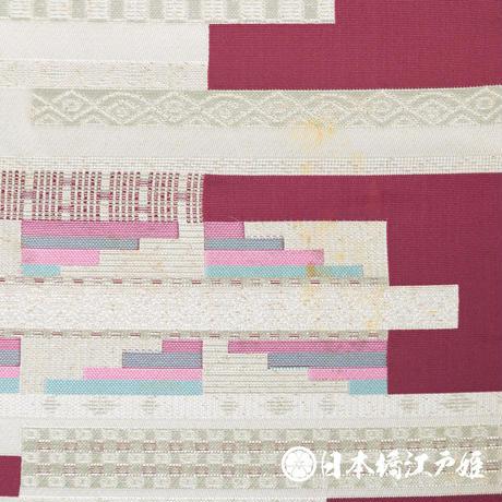 0172 名古屋帯 正絹 赤紫 幾何学 六通し 帯丈317cm