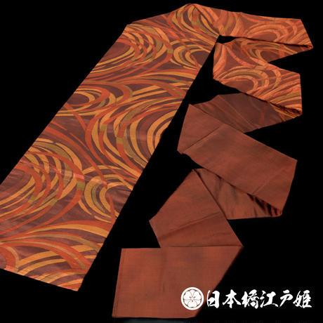 0160 名古屋帯 Aランク美品 正絹 茶色 橙色 幾何学 六通し 帯丈351cm