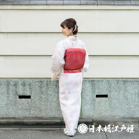 0276 夏物 小紋 薄物 絽 化繊 クリーム色 笹 幾何学 身丈155.5cm