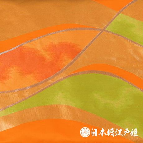 0092 名古屋帯 Aランク美品 正絹 橙色 幾何学 お太鼓柄 帯丈333cm