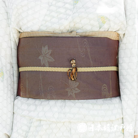 0199 夏物 名古屋帯 Aランク美品 正絹 焦茶色 流水 楓 金糸 帯丈349cm