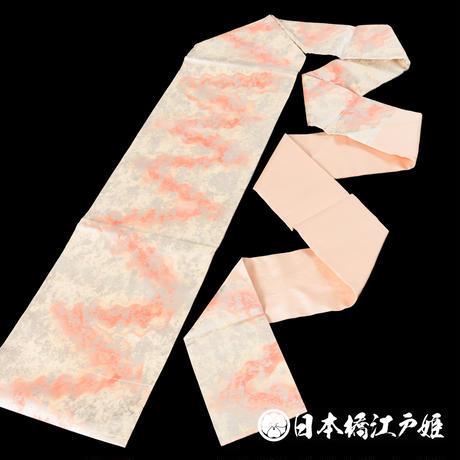 0174 名古屋帯 Aランク美品 正絹 クリーム ピンク ぼかし 六通し 帯丈364.5cm