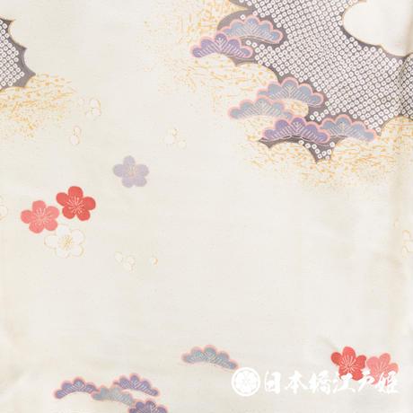 0377 付け下げ 優品 正絹 袷 クリーム色 草花 雲 梅 松 菊 金彩 身丈151cm