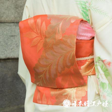 0213 夏物 優品 名古屋帯 絽 正絹 六通し 橙色 葉柄 金糸 引き箔 帯丈348cm