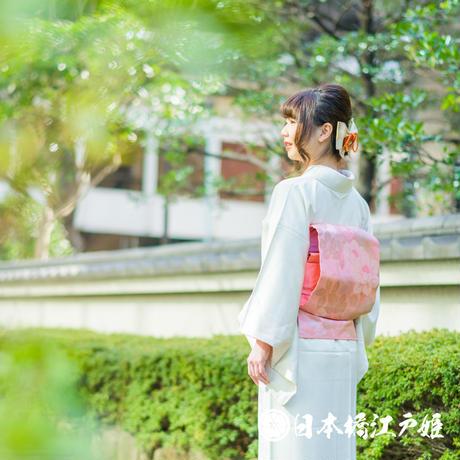 0098 名古屋帯 Aランク美品 正絹 ピンク 草花 六通し 帯丈350cm