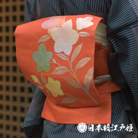0279 夏物 名古屋帯 絽 正絹 橙色 草花 桔梗 引き箔 お太鼓柄 帯丈360cm