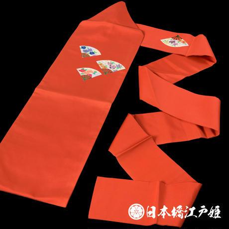 0167 名古屋帯 Aランク美品 正絹 橙色 扇 お太鼓柄 帯丈369cm