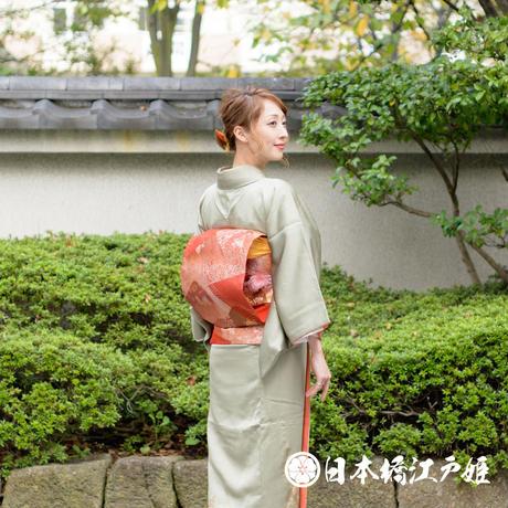 0372 名古屋帯 Aランク美品 正絹 赤 亀甲 金糸 六通し 帯丈365.5cm