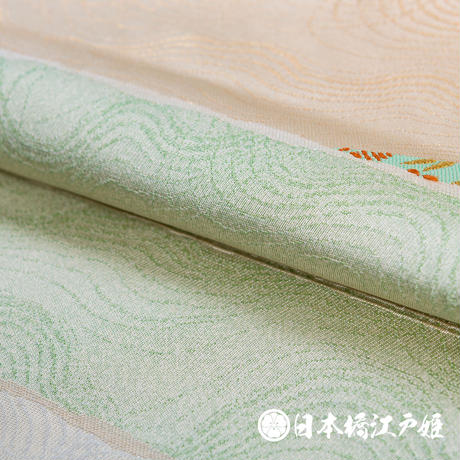 0169 名古屋帯 正絹 白 薄緑 薄橙 壺 縞 六通し 帯丈353.5cm