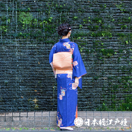 0353 小紋 やまと誂製 正絹 袷 濃青色 貝桶 水玉 身丈164cm
