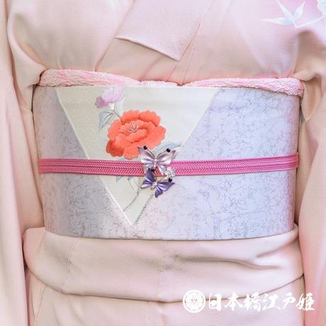 0309 名古屋帯 正絹 銀色 草花 牡丹 刺繍 銀糸 引箔 お太鼓柄 帯丈352cm