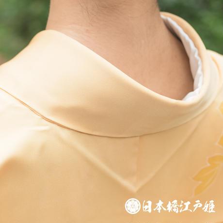 0285 付け下げ 正絹 袷 薄オレンジ 草花 金彩 身丈162cm