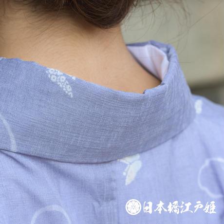 0214 夏物 優品 Aランク美品 小紋 薄物 絽 化繊 薄紫 蝶 身丈150cm