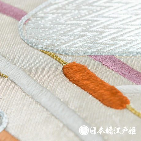 0173 名古屋帯 優品 正絹 白 銀色 草花 観世水 六通し 帯丈340cm