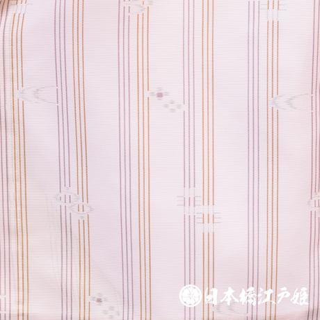 0268 夏物 小紋 Aランク美品 やまと誂製 薄物 絽 化繊 薄ピンク 縦縞 燕 幾何学 身丈152cm