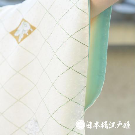 0361 小紋 正絹 袷 白 蝶 菱文 金彩 身丈154cm