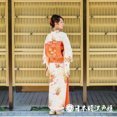 0305 名古屋帯 Aランク美品 正絹 オレンジ 格天井 草花 金糸 六通し 帯丈356cm