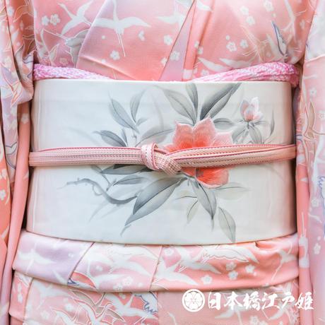 0313 名古屋帯 正絹 白 草花 刺繍 お太鼓柄 帯丈351cm