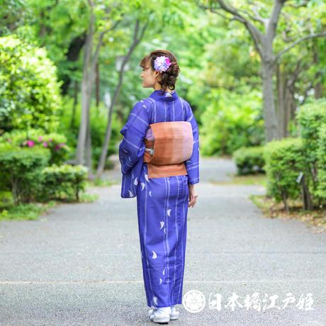 0209 夏物 名古屋帯 Aランク美品 正絹 茶色 縞 全通し 帯丈358.5cm