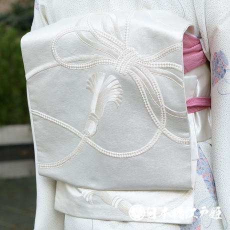 0376 名古屋帯 正絹 銀色 組紐 銀糸 引箔 六通し 帯丈353cm