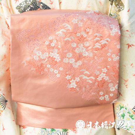 0364 名古屋帯 正絹 薄ピンク 草花 銀糸 六通し 帯丈355cm