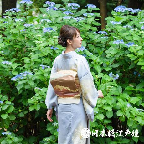 0155 名古屋帯 正絹 白 茶色 風景 山 樹木 六通し 帯丈355cm