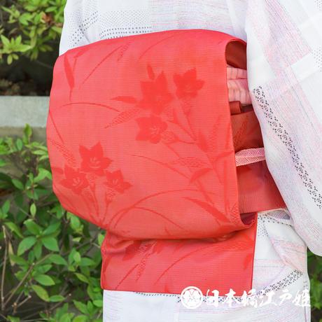 0203 夏物 名古屋帯    正絹 赤 桔梗文 全通し 帯丈350cm
