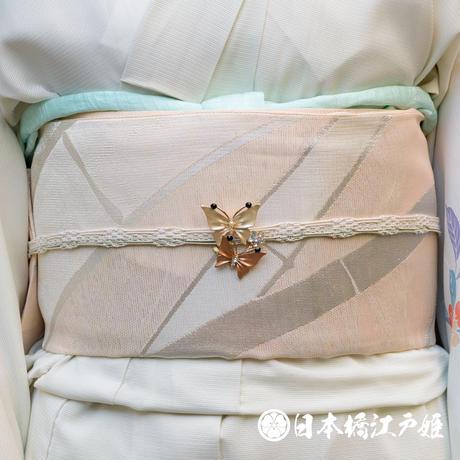 0260 夏物 袋帯 優品 正絹 薄オレンジ 竹 縞 銀糸 六通し 帯丈432cm
