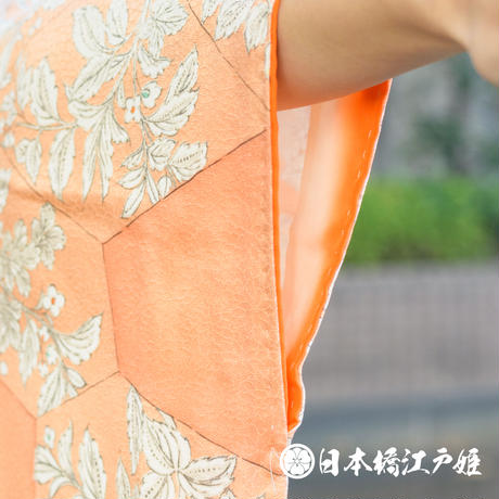 0349 小紋 優品 Aランク美品 正絹 袷 薄オレンジ 裂取り文 草花 身丈155cm