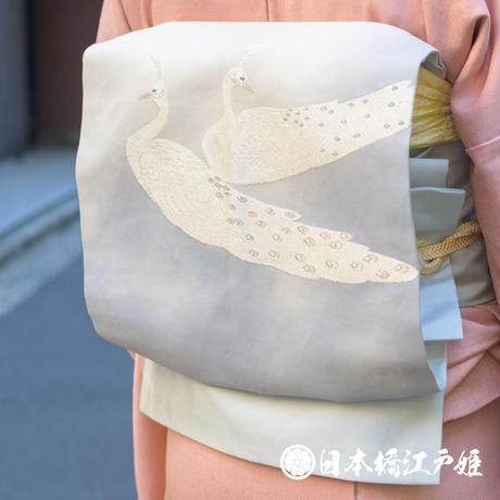 0358 名古屋帯 優品 正絹 青灰色 孔雀 銀糸 お太鼓柄 帯丈356cm