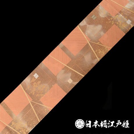 0072 名古屋帯 Aランク美品 正絹 格子 六通し 帯丈357cm