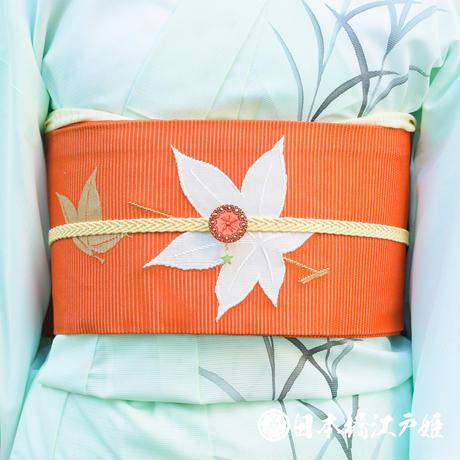 0236 夏物 名古屋帯 正絹 六通し 橙色 楓 金糸 刺繍 帯丈357cm